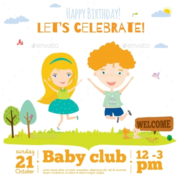 Birthday Invitation Card On Baby Party - Travel Conceptual
