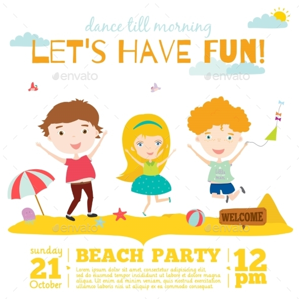 Invitation Card On Summer Beach Party - Travel Conceptual