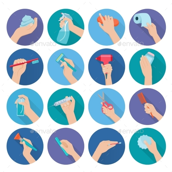 Hand Holding Objects Flat - Miscellaneous Icons