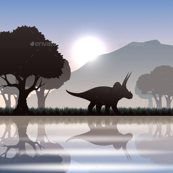 Silhouette Dinosaur In Landscape - Miscellaneous Vectors