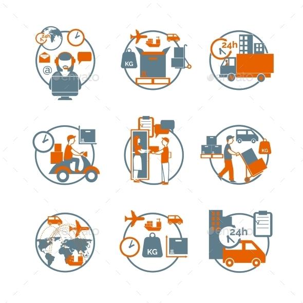 Logistic Circle Grey Orange Icons Set - Business Icons