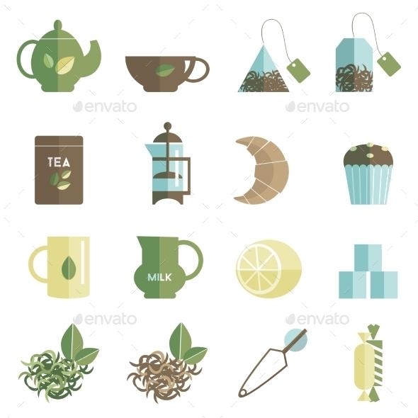 Tea Time Icons Set Flat - Miscellaneous Icons