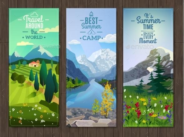 Summer Landscape Vertical Banners Set - Landscapes Nature