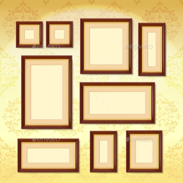 Dark Wood Frames - Objects Vectors