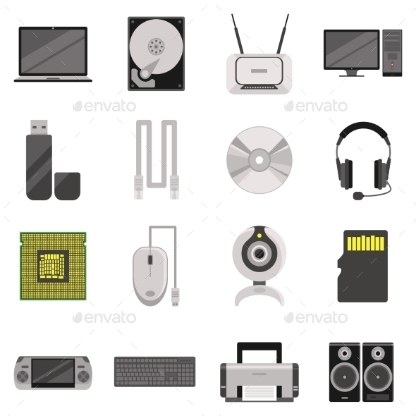 Computer Components And Accessories Icon Set - Man-made objects Objects