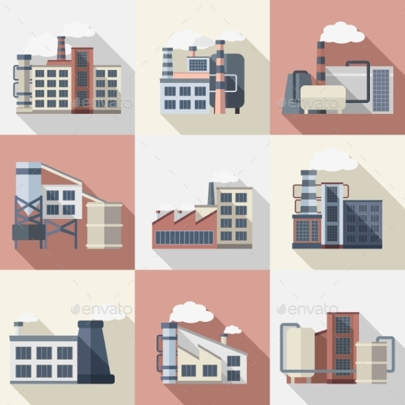 Industrial Buildings Set - Buildings Objects