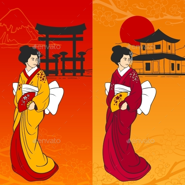 Geisha Banner Vertical - People Characters