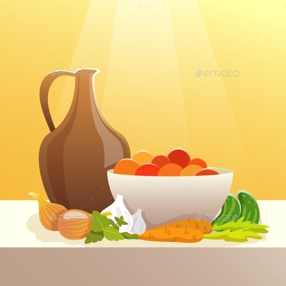 Vegetables And Pitcher Still Life - Food Objects