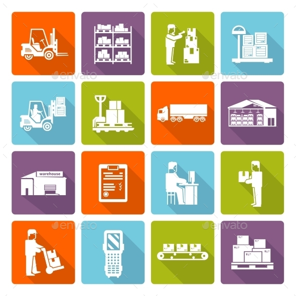 Warehouse Flat Icons Set - Business Icons