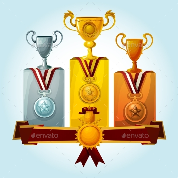 Trophies On Podium - Sports/Activity Conceptual