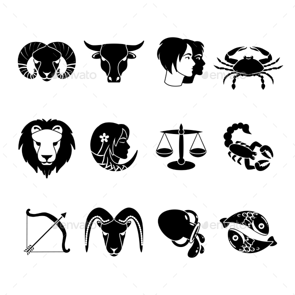 Zodiac Signs Icons Set Black  - Miscellaneous Icons