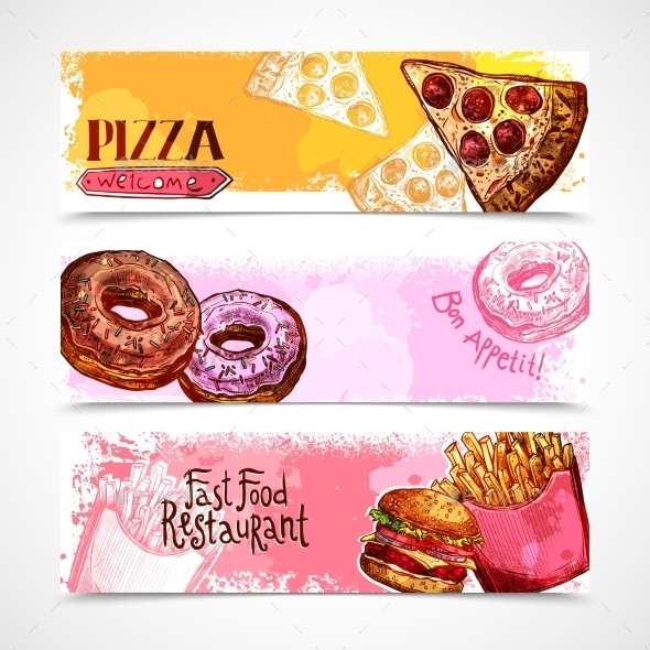 Fast Food Banners - Food Objects