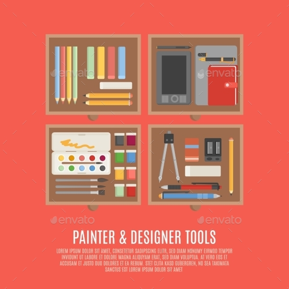 Painter And Designer Tools Concept - Objects Vectors