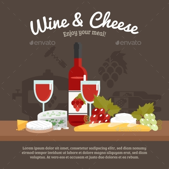 Wine And Cheese Life Still - Miscellaneous Vectors