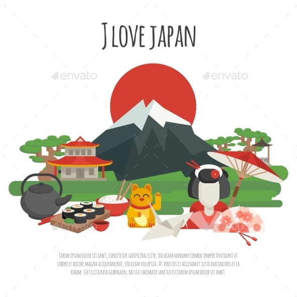 Japanese Tradition Symbols Poster - Travel Conceptual