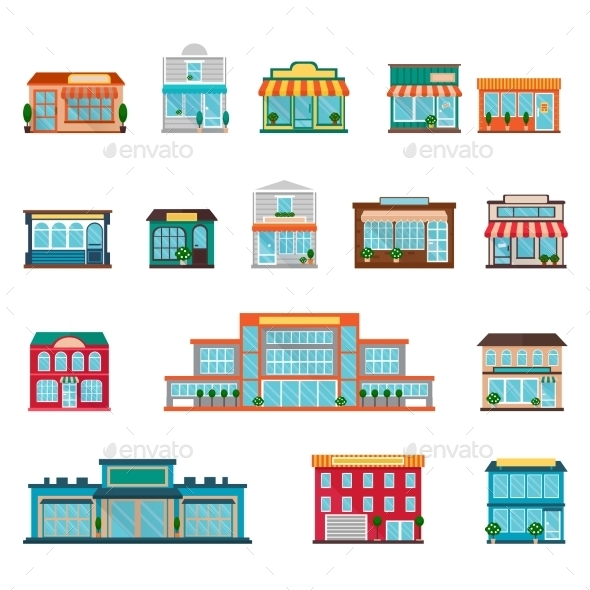 Store Icons Set - Buildings Objects