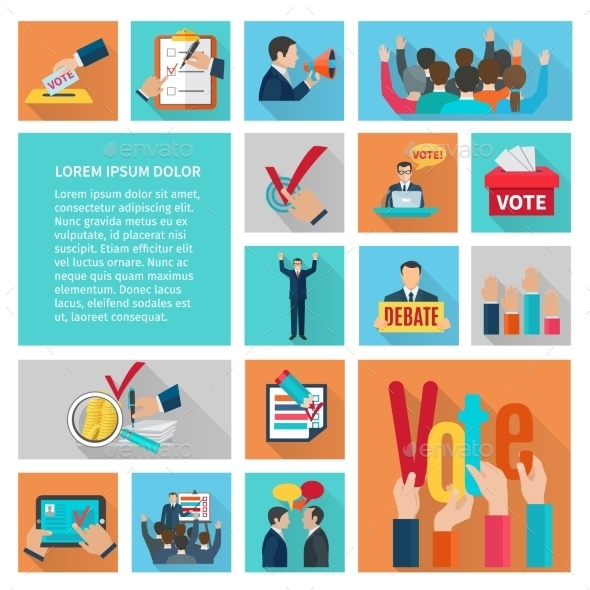 Elections Flat Icons Set - Miscellaneous Vectors
