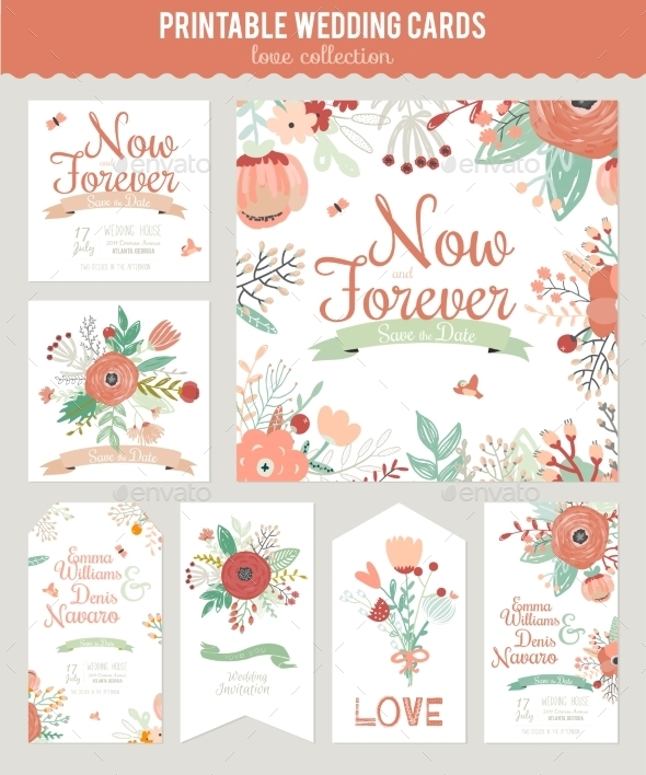 Vintage Floral Save The Date Invitation - Valentines Seasons/Holidays