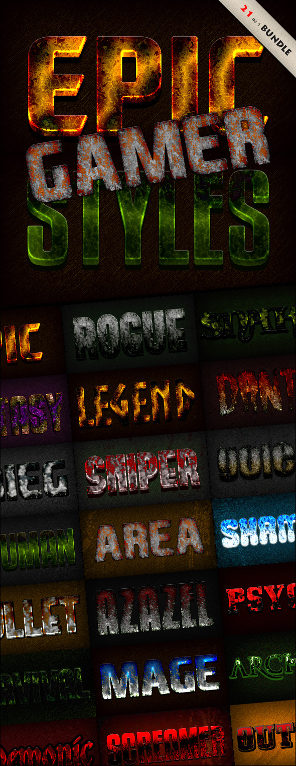 Photoshop Text Styles Bundle / Epic Gamer Pack - Text Effects Styles