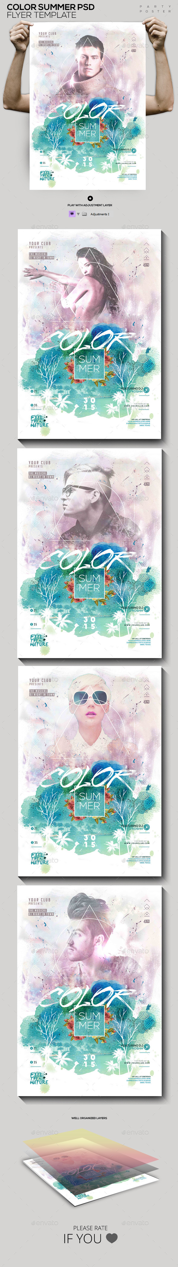 Summer Colors PSD Flyer / Poster Template - Clubs & Parties Events