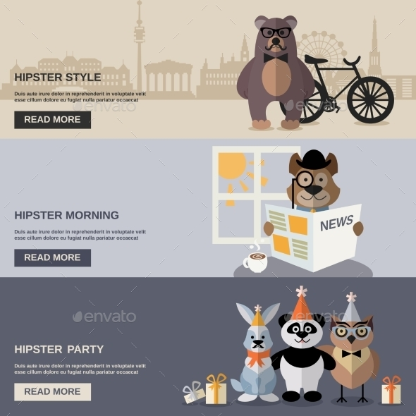 Animal Hipster Banner Set - Animals Characters