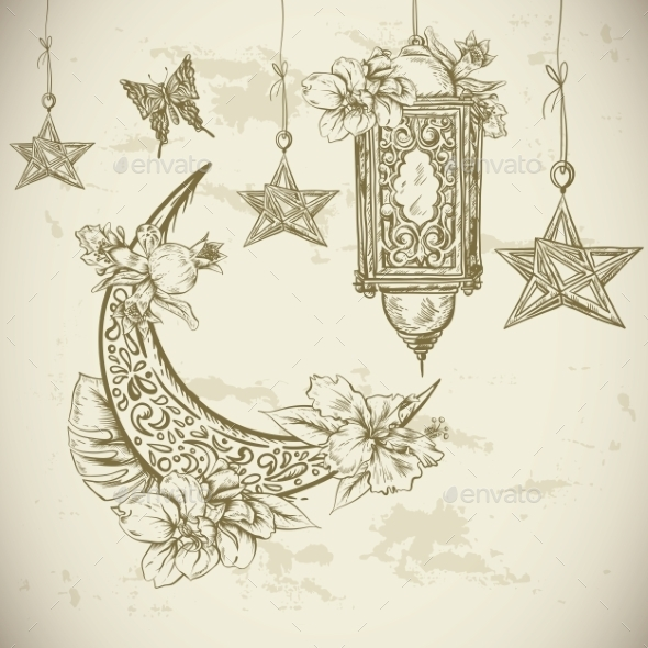 Traditional Greeting Card With Arabic  Lantern - Patterns Decorative