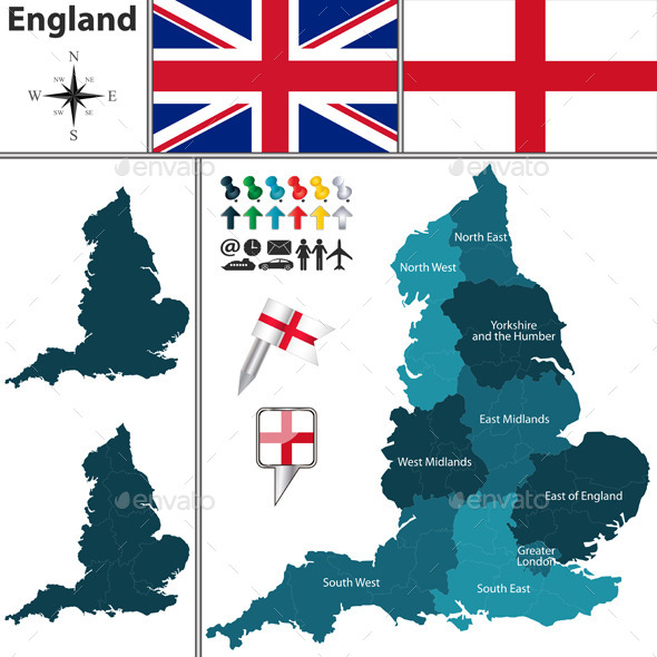 Map of England with Regions - Travel Conceptual