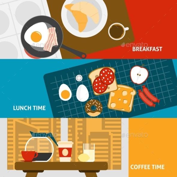 Breakfast Banners Set  - Food Objects
