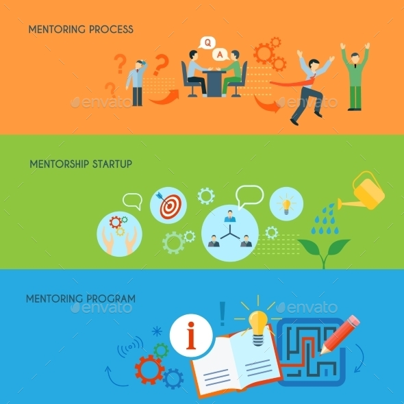 Business Mentoring Flat Horizontal Banners Set  - Concepts Business