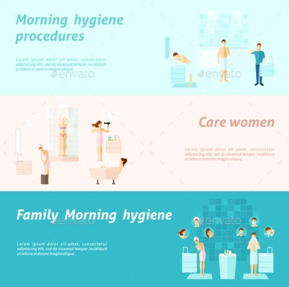 Morning Family And Woman Hygiene Banner - Health/Medicine Conceptual