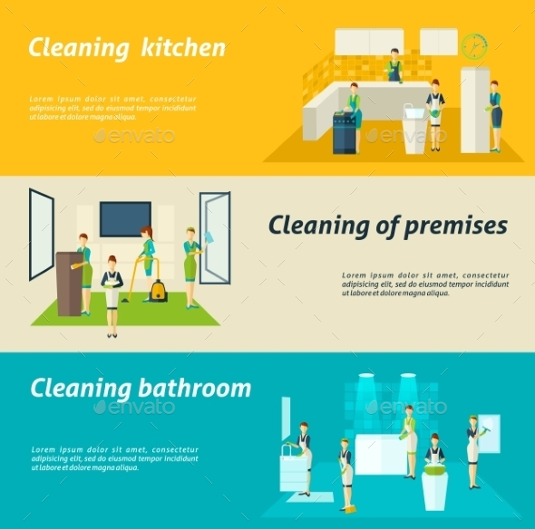Cleaning In Rooms Flat Banners Set - Business Conceptual
