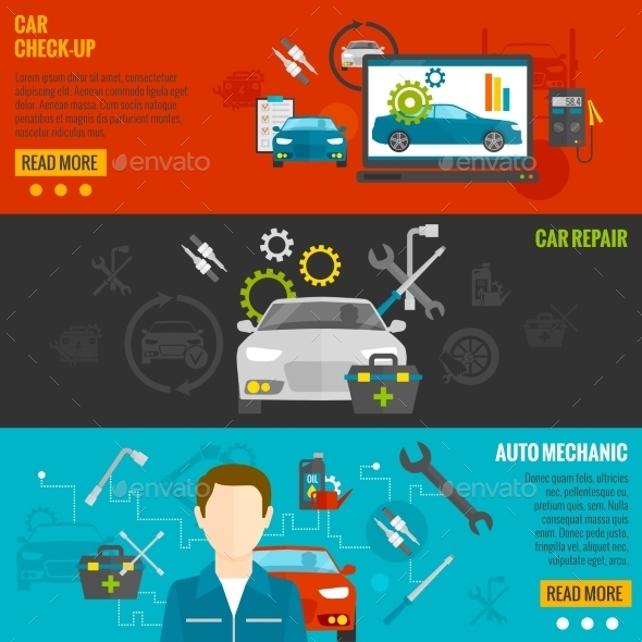 Auto Mechanic Banner Set - Miscellaneous Vectors