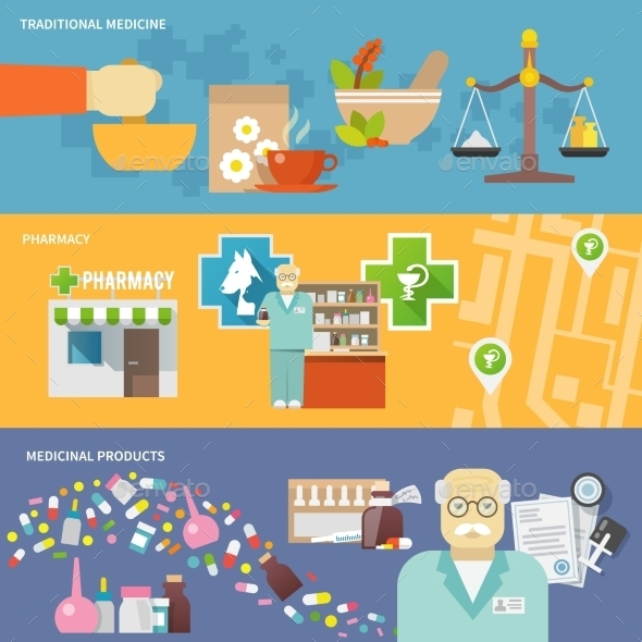 Pharmacist Banner Set - Health/Medicine Conceptual