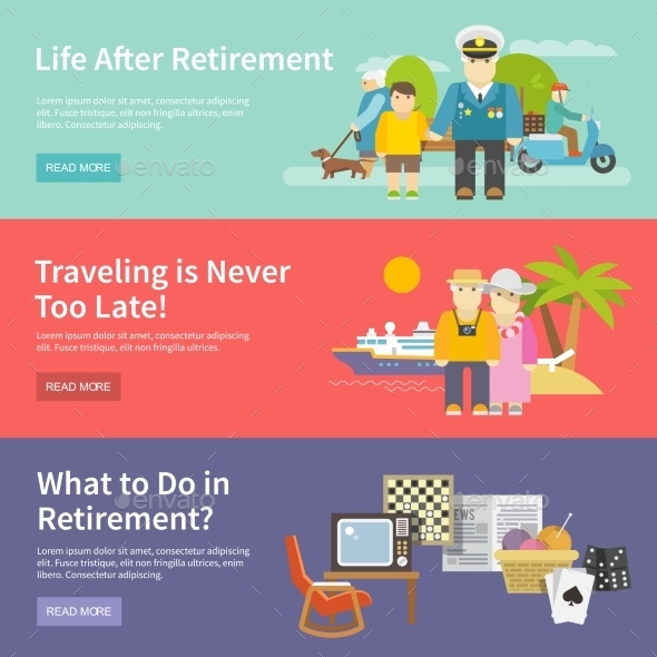 Pensioners Life Banner Set - People Characters