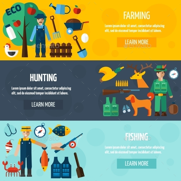 Fisherman Hunting And Farmer Banner Set - Miscellaneous Conceptual