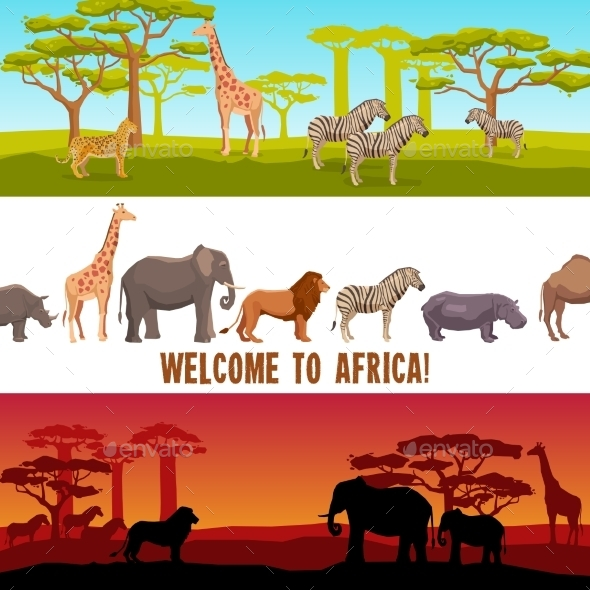 Horizontal African Animals Banners Set - Nature Conceptual