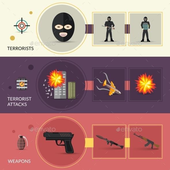 Terrorism Banners Set - Miscellaneous Vectors
