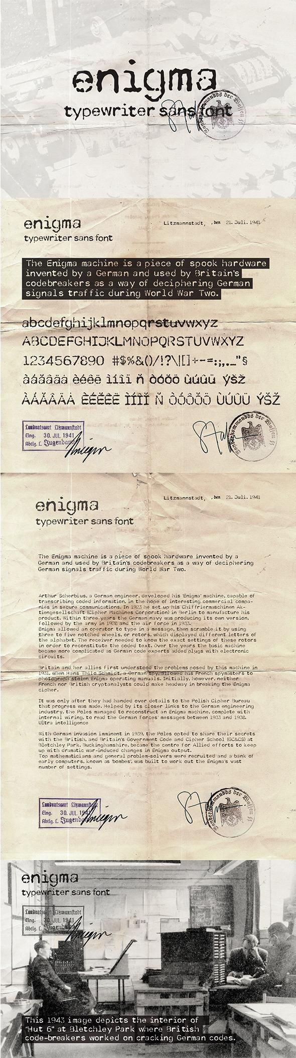 Enigma Typewriter Sans Font - Serif Fonts