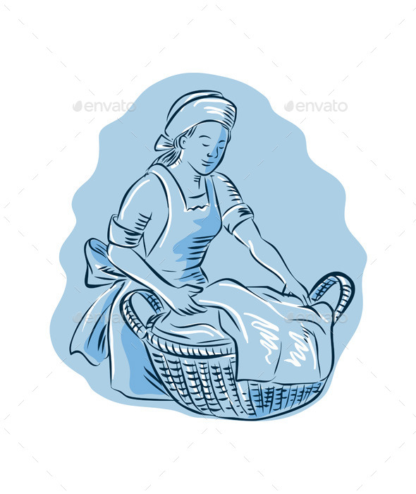 Laundry Maid Basket Vintage Etching - People Characters