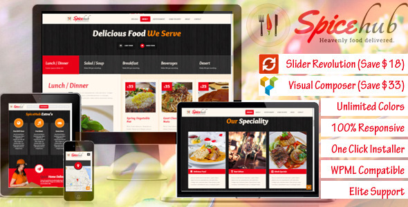 SpiceHub - Restaurant / Cafe / Bar  WordPress Theme