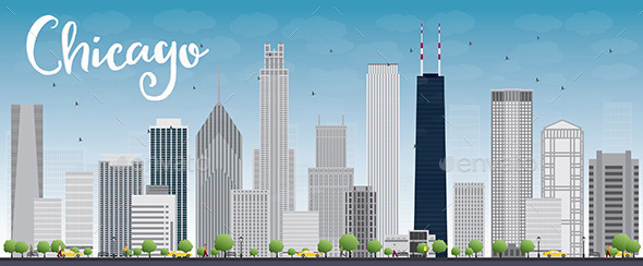 Chicago City Skyline with Grey Skyscrapers and Blu - Buildings Objects