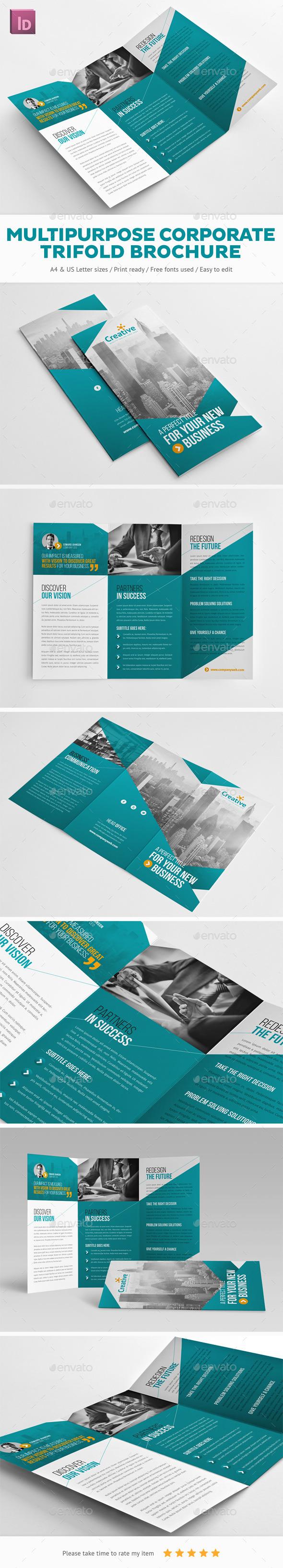 Multipurpose Corporate Trifold Brochure - Corporate Brochures