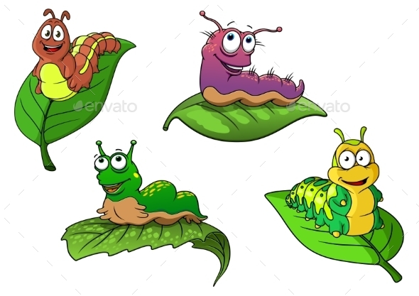 Cheerful Cartoon Caterpillars Characters - Animals Characters