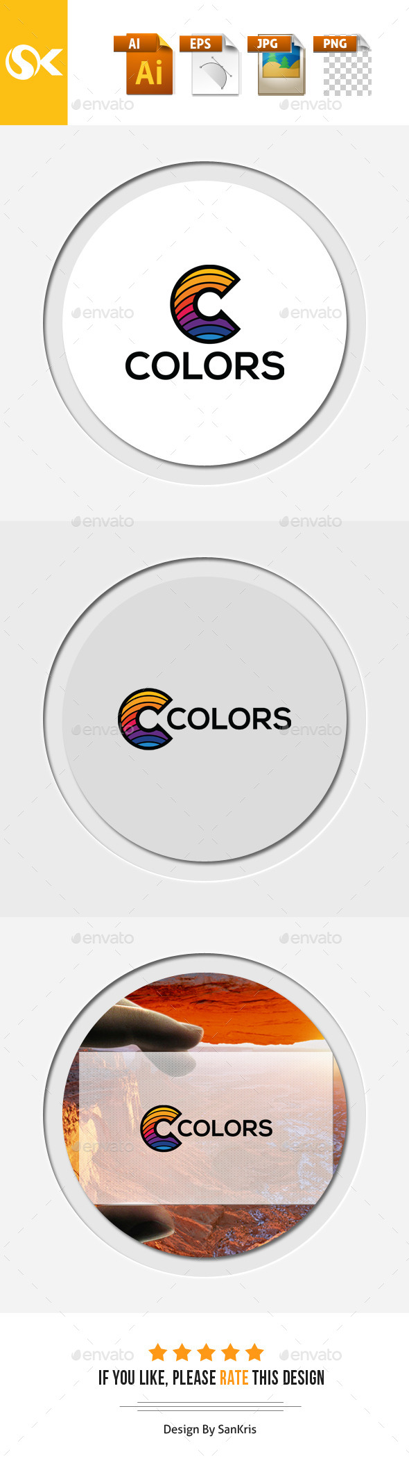 Color C letter Logo Template - Letters Logo Templates