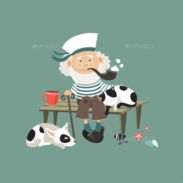 Old Sailor Sitting On Bench With Cat And Dog - People Characters