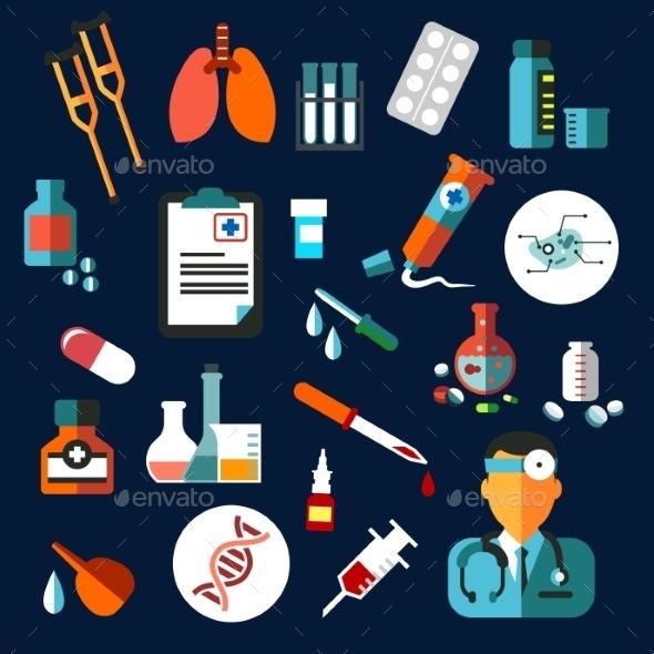 Medical Flat Icons With Medication And Diagnostics - Health/Medicine Conceptual