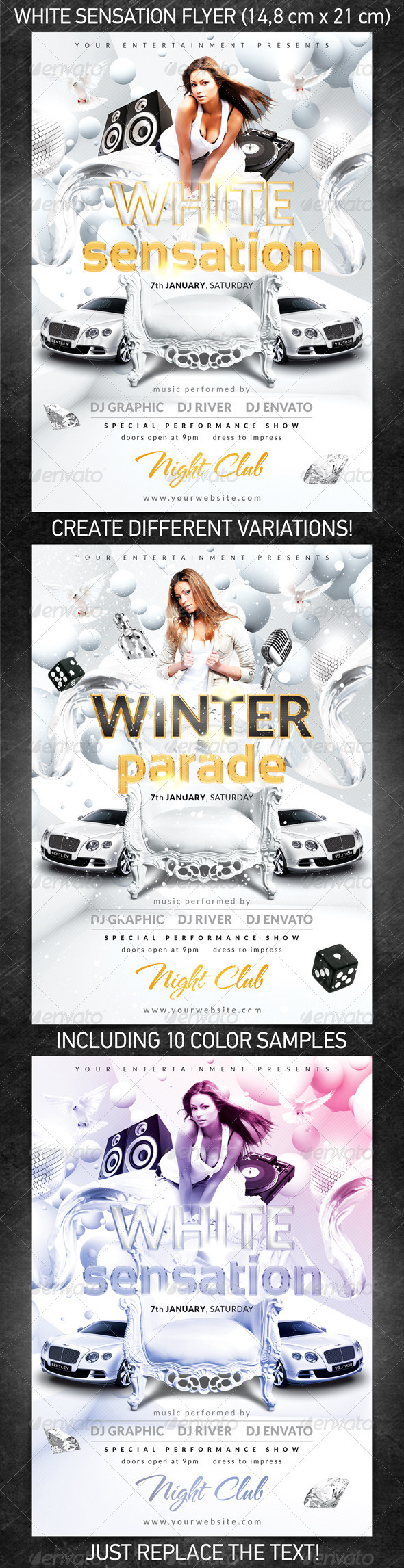 White Sensation Flyer - Clubs & Parties Events
