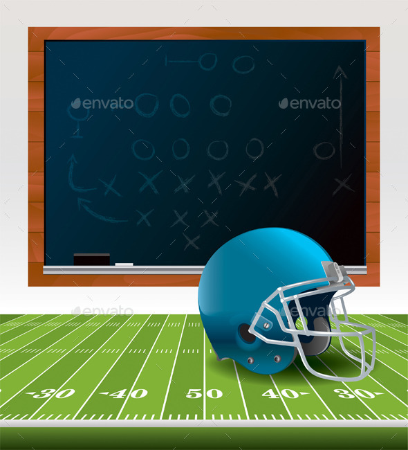 Vector American Football Helmet and Chalkboard - Sports/Activity Conceptual