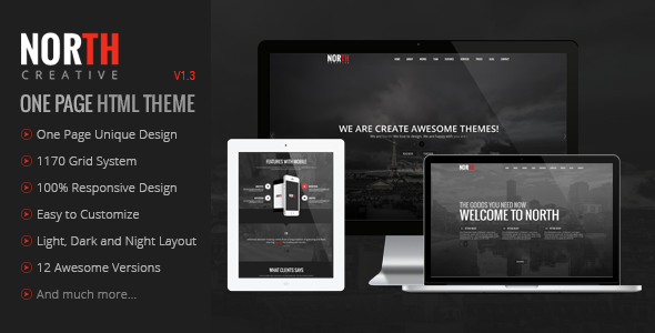 North One Page Parallax Theme By Goldeyes Themeforest