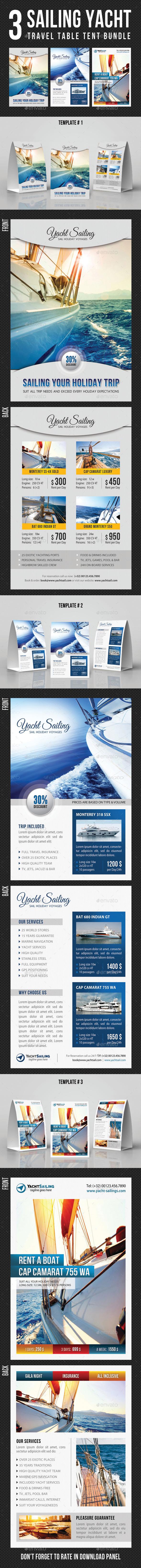 3 Sailing Yacht Travel Table Tent Bundle - Miscellaneous Print Templates